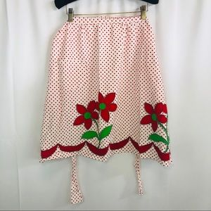 50's vintage handmade polk-a-dot half apron